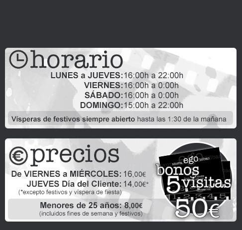 HORARIOS Y PRECIOS